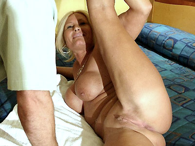 Blonde mom gets her face hole filled with cock